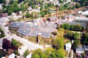 Aerial view of Abbot Mills Buildings