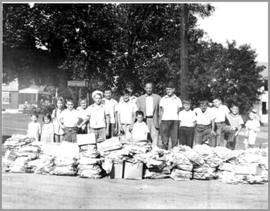 Photo of Cameron School Paper Drive - Forge Village - Orchard Street Gang - 1945