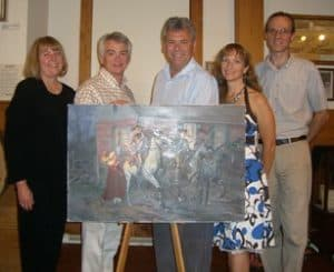 "Photo of Don Troiani wth his ""Departure of the Minutemen"" painting"