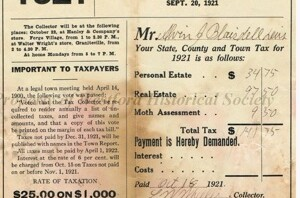Image of a 1921 Tax Payment Bill